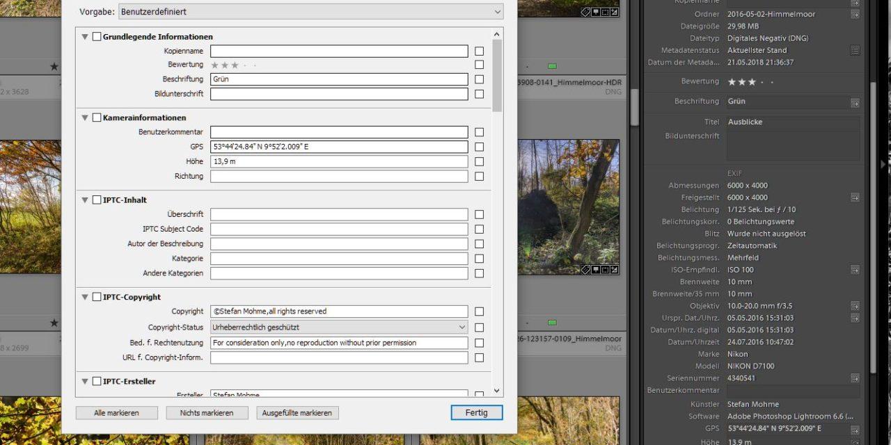 Lightroom, metadaten,screenshot