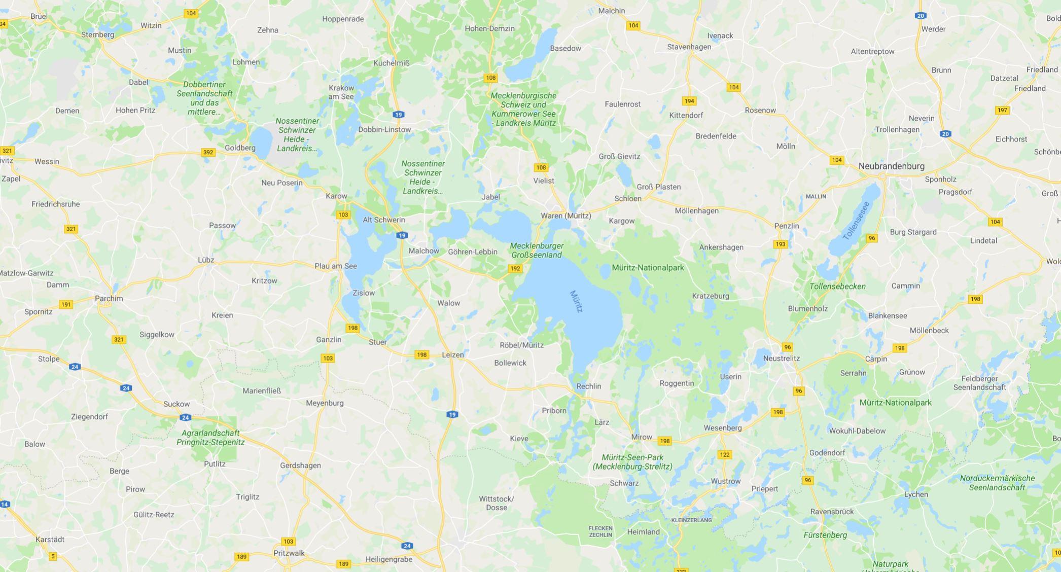 Mecklenburg Vorpommern, Boeker Fischteiche landkarte