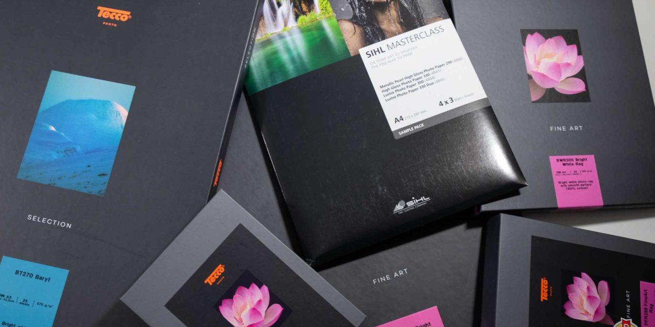 Verschiedene verpackte Fotopapiere