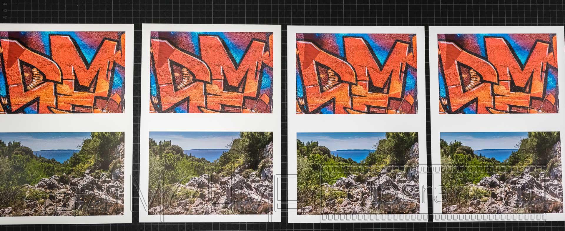 Verschiedene normale Fotopapiere bedruckt