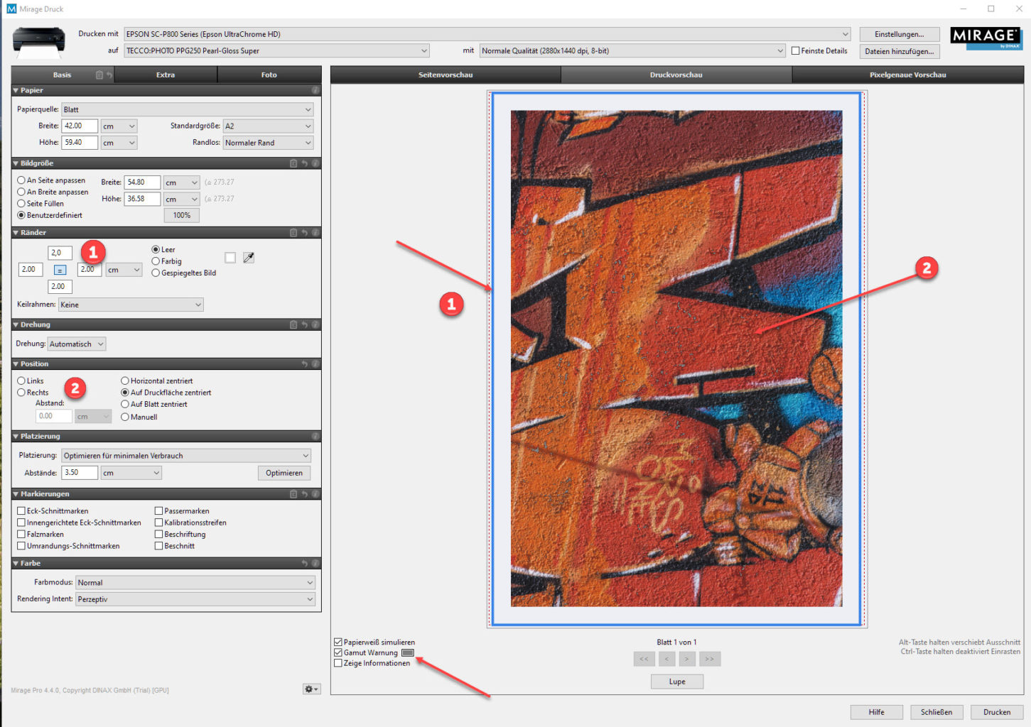 Screenshot Mirage Drucksoftware