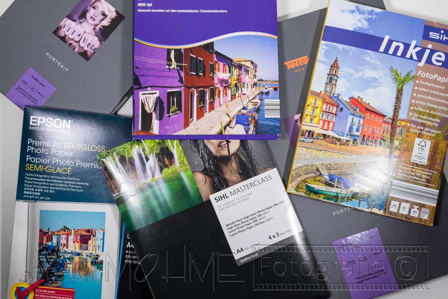 Verschiedene ,Verpackungen für Fotopapiere,Papiere