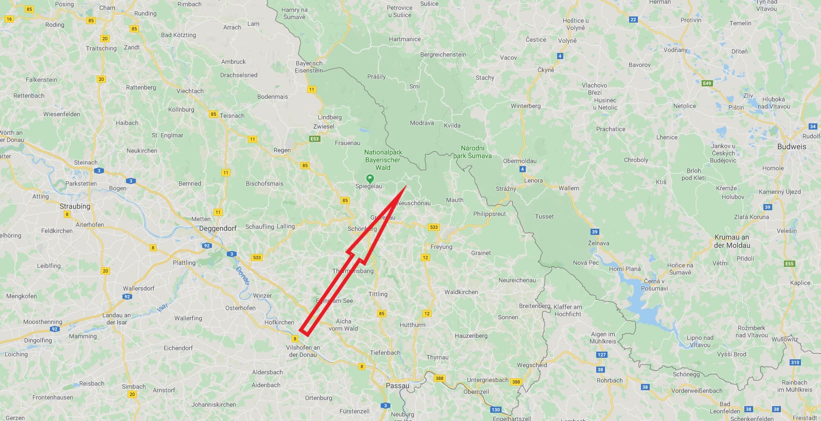 Landkarte Bayrischer Wald