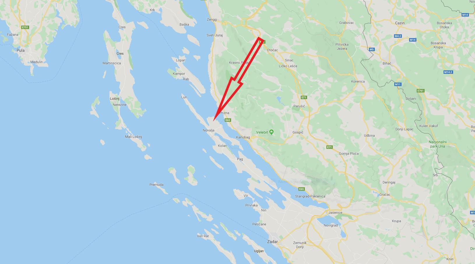 Landkarte Kroatien Insel pag
