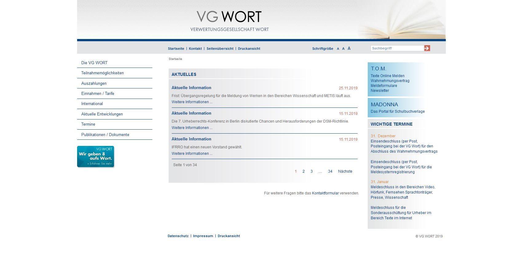 Screenshot VG Wort
