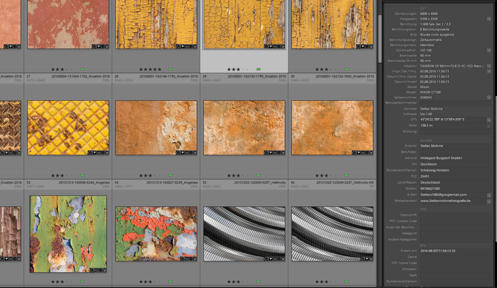 Screenshot Lightroom Bibliothek