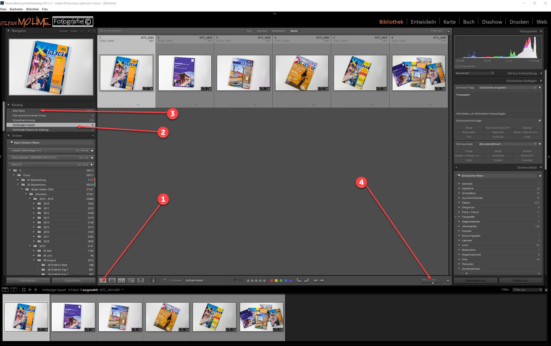 Lightroom Screenshot Bibliothek