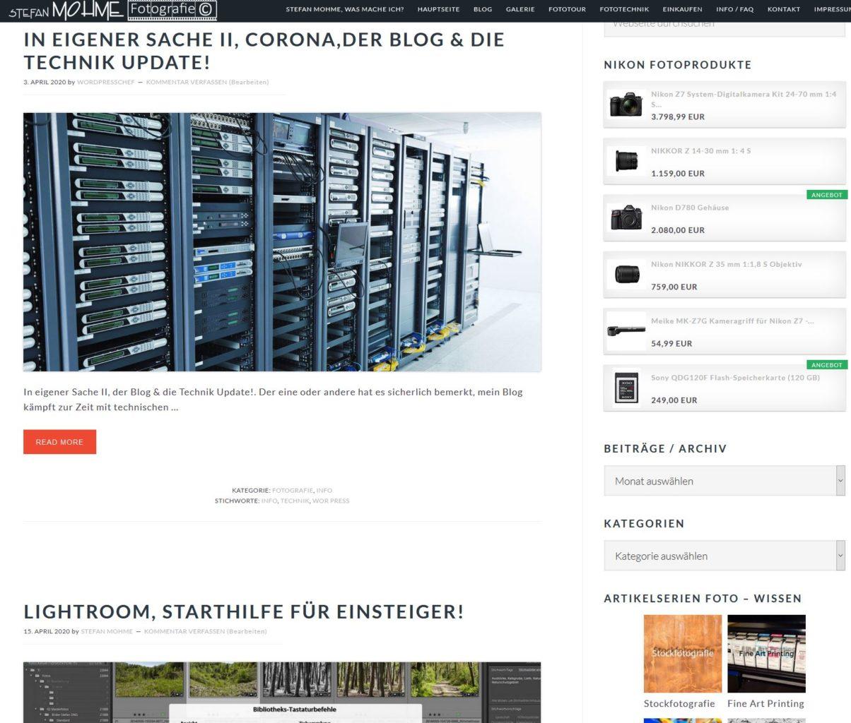 Website Stefan Mohme Screenshot,Resumee 2020