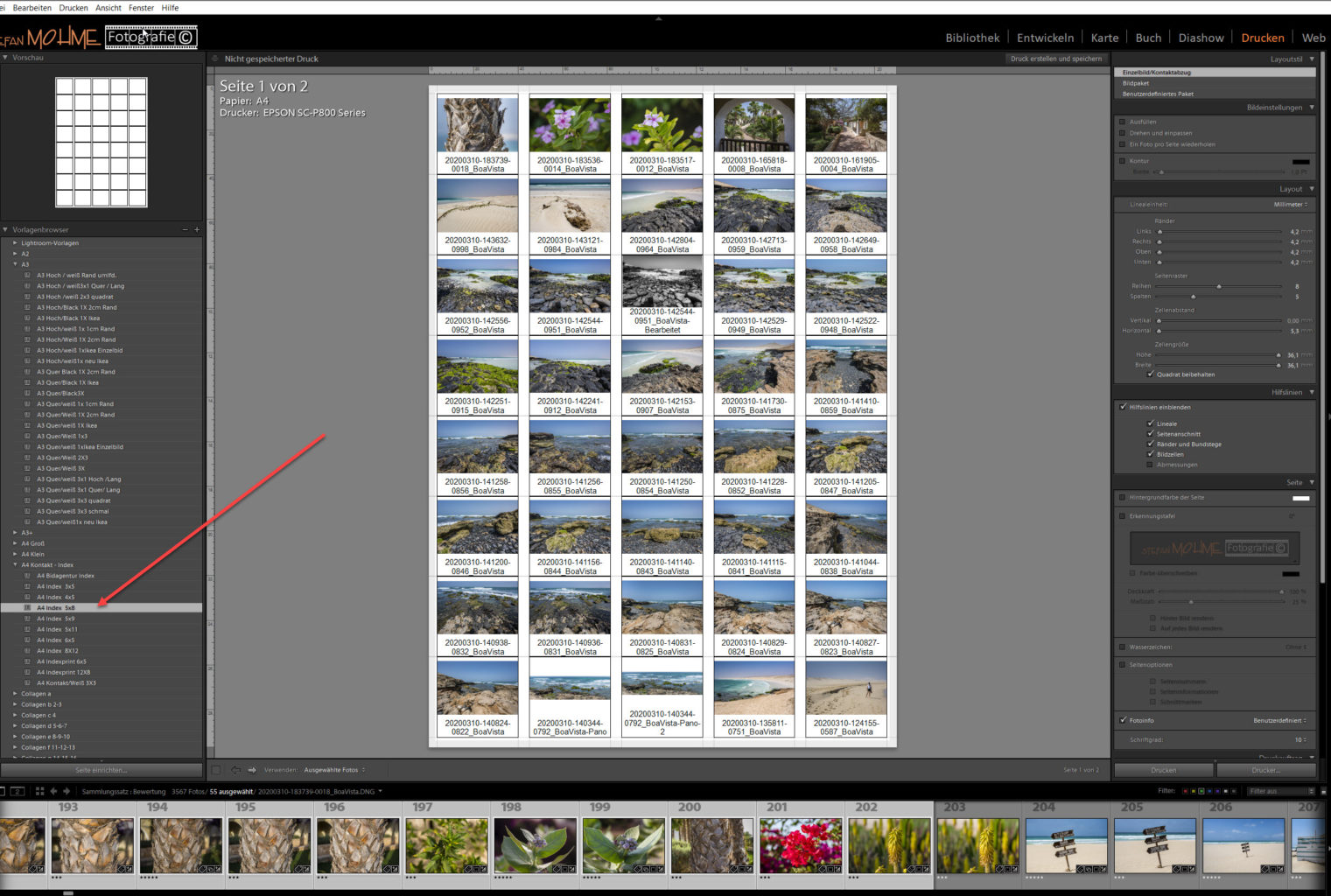 Lightroom Screenshot Druckmodul