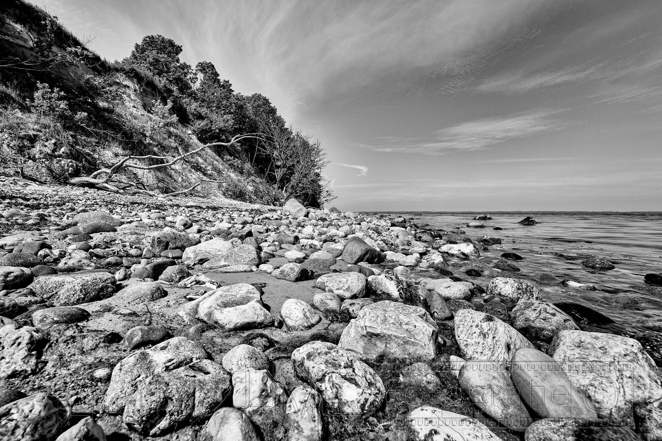 Steilküste, Ostseestrand, Schwarzweiss